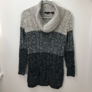 Jeanne Pierre Cable Knit Cow Neck Sweater S